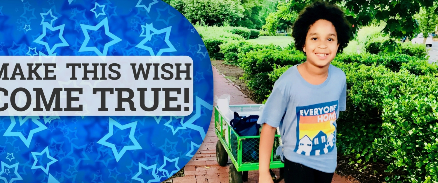 "Image of Maya pulling green HART wagon with text ""Make This Wish Come True"""